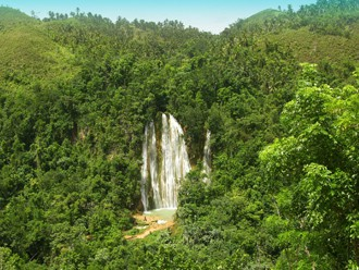 Waterfall Salto El Limon in Samana Dominican Republic.